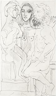 Sale 8732 - Lot 569 - Pablo Picasso (1881-1973) - Sculptor, Model with Sculpture of Seated Woman, 1939 31.5 x 18cm