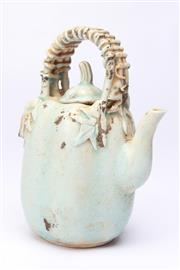 Sale 8694 - Lot 6 - Celadon Chinese Melon Shaped Teapot
