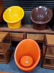Sale 8741 - Lot 1043 - Set of 3 Vintage Tub Chairs by Ikea