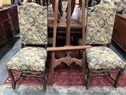 Sale 8848 - Lot 1031 - Set of Eight Louis XIV Style Oak Dining Chairs, the high backs upholstered with scattered leaf tapestry, shaped legs & stretchers -...