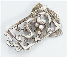 Sale 9123J - Lot 360 - A good Art Deco sterling silver pierced panel brooch C: 1940's, decorated with a dragon. L: 55mm x 36mm