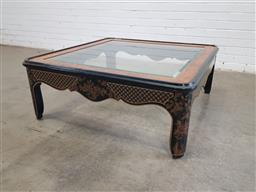 Sale 9151 - Lot 1379 - Chinese Ebonised glass top coffee table (h:41 x w:106 x d:106cm)