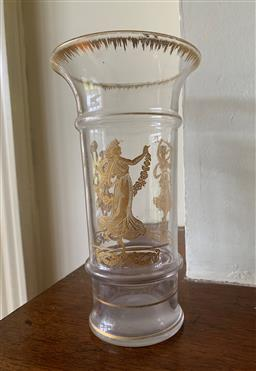 Sale 9190H - Lot 209 - An etched gilt decorated trumpet vase depicting the three graces, Height 20.5cm