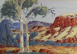 Sale 7919 - Lot 541 - Keith Namatjira- Gums in Landscape, Watercolour, 26 x 36cm, Signed Lower Right