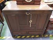 Sale 8447 - Lot 1042 - Chinese Fruitwood Storage Chest w 2 Drawers & Lock