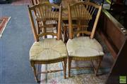 Sale 8532 - Lot 1259 - Set of Eight Timber Dining Chairs with Rush Seat