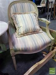 Sale 8545 - Lot 1066 - Pair of French Style Carver Chairs with Striped Upholstery (060466, 060469)