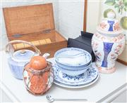Sale 8550H - Lot 154 - A group of oriental items including soup bowls, and spoons, two plates, a lidded Imari baluster vase, ginger jar, tea pot and conten...