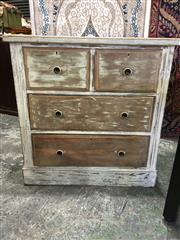 Sale 8782 - Lot 1719 - Shabby Chic Kauri Pine Chest of Four Drawers