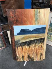 Sale 8797 - Lot 2113 - 2 Artist Unknown - Grasslands & Abstract Landscape, mixed media canvases