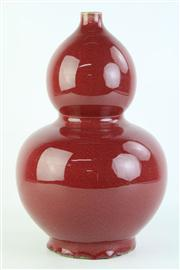 Sale 8815C - Lot 36 - Gourd Shaped Chinese Vase In Red Glaze H:37cm