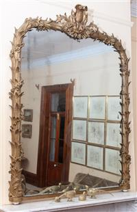 Sale 8934H - Lot 66 - A C19th continental mirror with gilt acanthus and floral garland decoration (missing a few leaves) Height approx. 180cm