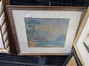 Sale 9019 - Lot 2014 - An Early watercolour and pastel depicting a Mountainside Lake, frame: 37 x 46 cm