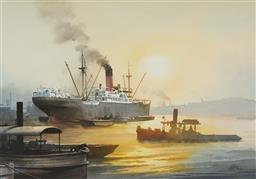 Sale 9096 - Lot 505 - Phil Belbin (1925 - 1993) Steamship in Harbour watercolour 35 x 50 cm (frame: 56 x 70 x 2 cm) signed lower right