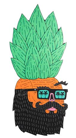 Sale 9116A - Lot 5008 - Joel Moore (Mulga) Hipster Pineapple acrylic on board 181 x 79 cm unsigned