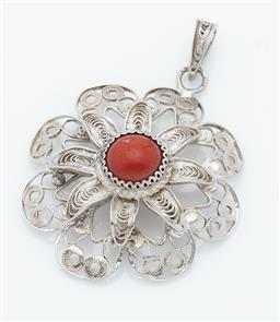 Sale 9123J - Lot 361 - A fine antique European filigree silver flower pendant set to the centre with a natural red coral cabochon, suspended from a fancy f...