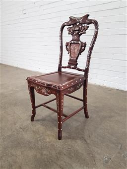 Sale 9162 - Lot 1075 - Chinese Rosewood & Inlaid Side Chair, the vase shaped splat with mother of pearl inlays, timber seat & cabriole legs joined by stret...