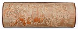 Sale 9164 - Lot 373 - Chinese carved timber calligraphers wrist rest featuring river village scene (27cm x 10cm)