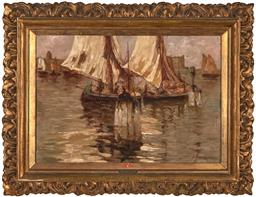 Sale 9244A - Lot 5083 - A. MARTINI-CHIOGGIA Venetian Sunset oil on canvas 48.5 x 70.5 cm (frame: 74 x 96 x 7 cm) signed lower right