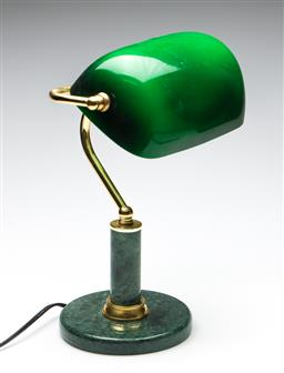 Sale 9253 - Lot 43 - A brass bankers lamp on marbled base (H:39cm) - untested