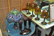 Sale 8129 - Lot 1088 - Set Of 4 Amber Shade Table Lamps and 2 Others