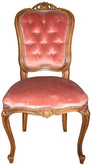Sale 8258A - Lot 64 - Set of six French Louis XV pink dralon upholstered chairs, RRP $295 each