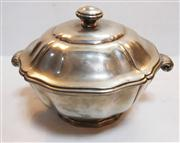 Sale 8272A - Lot 26 - A vintage French pewter soup / vegetable tureen, factory marks to base. Size; 30 x 20 cm