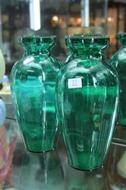 Sale 8322 - Lot 77 - Green Glass Pair of Vases