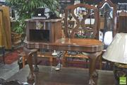 Sale 8338 - Lot 1429 - Carved Imbuia Telephone Table with Seat on Ball & Claw Feet