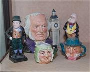 Sale 8368A - Lot 77 - A Royal Doulton Toby Jug, John Doulton together with two smaller Arttone character jugs, and two Royal Doulton Figures of Micawber a...