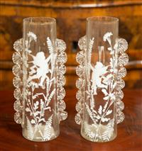 Sale 8392H - Lot 26 - A pair of Mary Gregory style glass vases with enamelled cherub decoration, one a/f, H 23cm