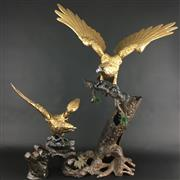 Sale 8545N - Lot 156 - Japanese Cast Iron Eagle Figure Group, disassembles into 9 sections (H: 73cm W:65cm)