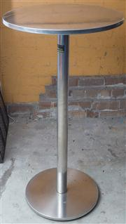 Sale 8575H - Lot 100 - Two stainless steel bar tables H: 112cm Diam: 60cm