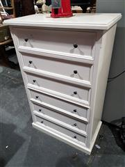 Sale 8760 - Lot 1046 - White Painted Chest of Six Drawers