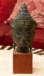 Sale 8882H - Lot 74 - A Thai bronze head of a buddha on a timber stand, Height 33cm