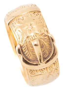 Sale 9140 - Lot 364 - A VICTORIAN 18CT GOLD BUCKLE RING; with floral engraving around the buckle, width 7.8mm, some dents, split and repairs, size L, wt....