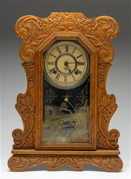 Sale 9211 - Lot 91 - An Ansonia Timber Carved Mantle Clock With an Art Nouveau Pattern (H:50cm)