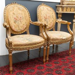 Sale 9248H - Lot 93 - A Pairof French antique Aubusson tapestry upholstered elbow chairs, height of back 94cm width 58cm