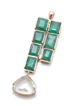 Sale 9253J - Lot 387 - AN 18CT GOLD EMERALD AND AQUAMARINE PENDANT; collet set with 7 emerald cut emeralds totalling approx.16.66ct (some chips and surface...