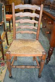 Sale 8093 - Lot 1742 - Set of Four Pine Ladderback Chairs with Rush Seats