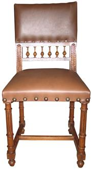 Sale 8258A - Lot 65 - Set of six Henri II walnut chairs circa 1900 reupholstered in brown leather, reglued and polished, RRP $2970