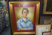 Sale 8410T - Lot 2032 - Framed Portrait of a Boy, signed Joan Lane