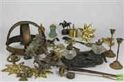 Sale 8508 - Lot 39 - Cast Metal Ink Well Together with Other Metal Wares inc Brass Helmet and Sunflower Handles and Alabaster Salt and Pepper Grinders