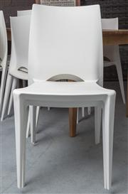 Sale 8575H - Lot 101 - A set of 10 Bellini indoor/outdoor white stackable chairs H of seat back: 85cm H seat: 44cm W: 44cm D: 40cm Ex Glicks Furn...