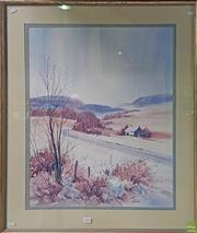 Sale 8600 - Lot 2049 - Pat Denman - Country Landscape with Cottage watercolour 94 x 79cm (frame size) signed lower right
