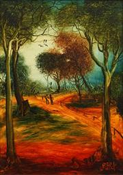 Sale 8675 - Lot 524 - Kevin Charles Pro Hart (1928 - 2006) - The Road 45 x 30cm
