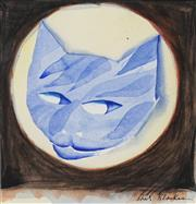 Sale 8732 - Lot 523 - Charles Blackman (1928 - 2018) - Cat and Moon 27.5 x 26cm