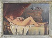 Sale 8762 - Lot 2087 - Max Mandlinger Reclined Nude, München 1945 oil on canvas, 59 x 89cm, signed and dated -