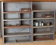Sale 8984H - Lot 396 - A pair of galvanised metal deesk top stand up storage units, the taller 60cm