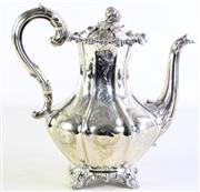 Sale 8989 - Lot 8 - William IV Sterling Silver Teapot, London, c.1837, by Charles Reilly & George Storer, decorated with vegetable finial (H:25cm)
